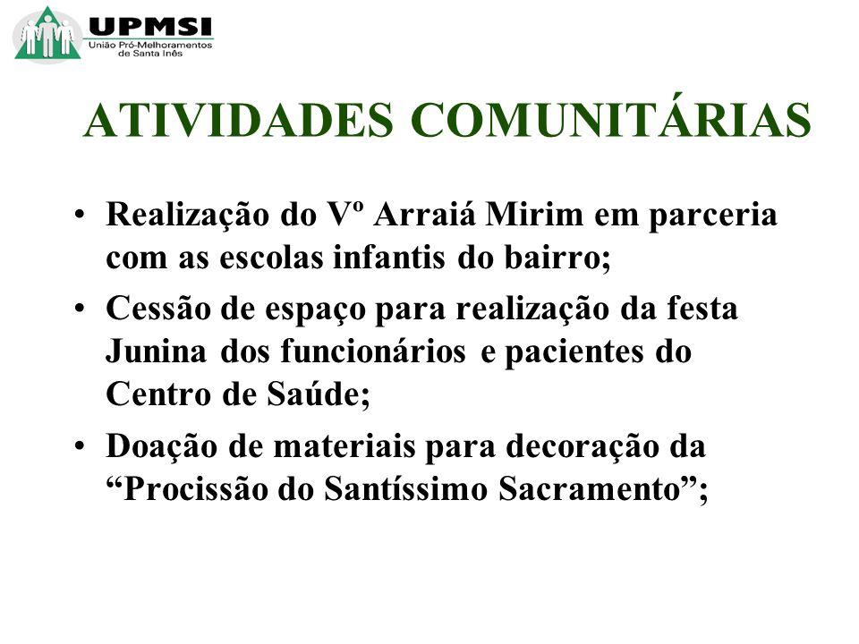 Realização do Vº Arraiá Mirim em parceria com as escolas infantis do bairro; Cessão de espaço para realização da festa Junina dos funcionários e pacie