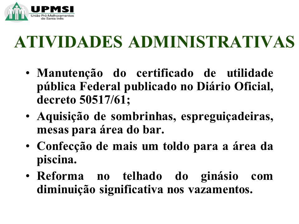 ATIVIDADES ADMINISTRATIVAS Manutenção do certificado de utilidade pública Federal publicado no Diário Oficial, decreto 50517/61; Aquisição de sombrinhas, espreguiçadeiras, mesas para área do bar.
