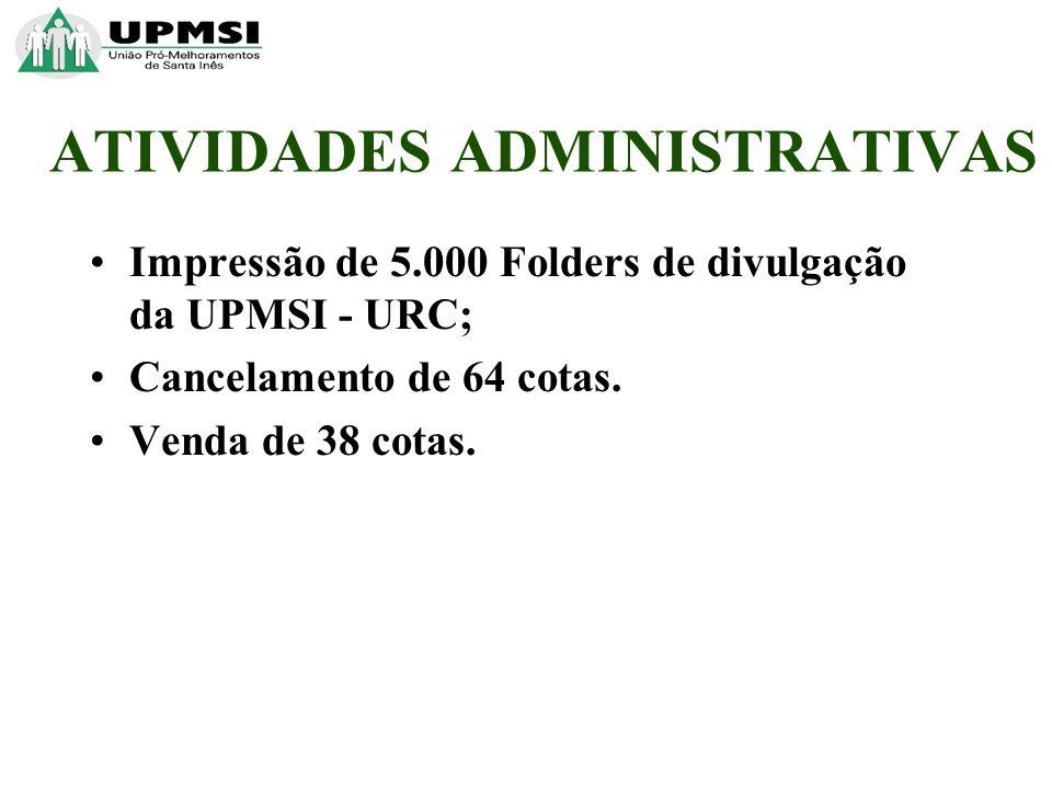 Impressão de 5.000 Folders de divulgação da UPMSI - URC; Cancelamento de 64 cotas.