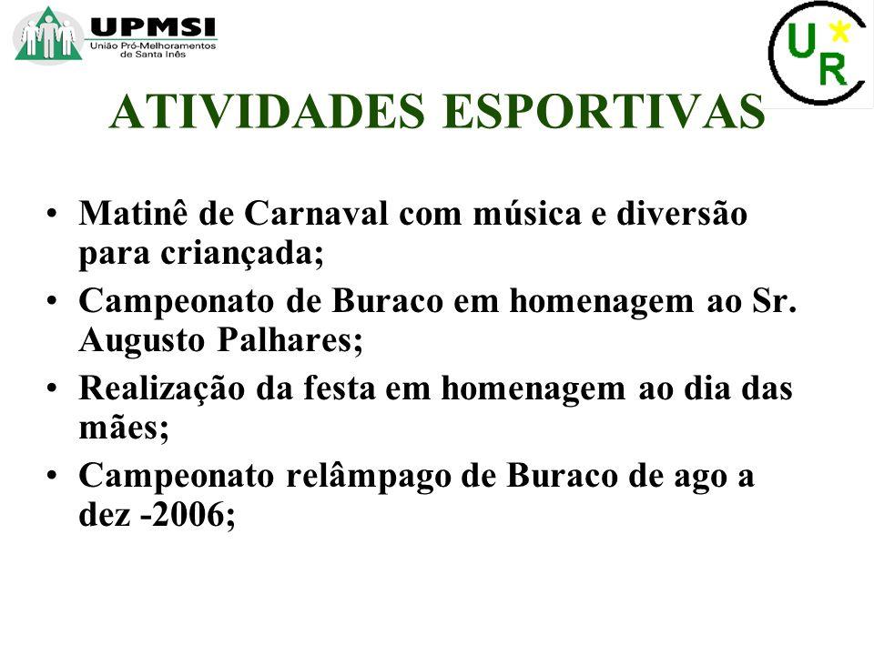 Festa em homenagem ao dia dos pais; Realização do XII Campeonato de peteca Manuel Divino Lopes; Campeonato de buraco em homenagem ao Sr.