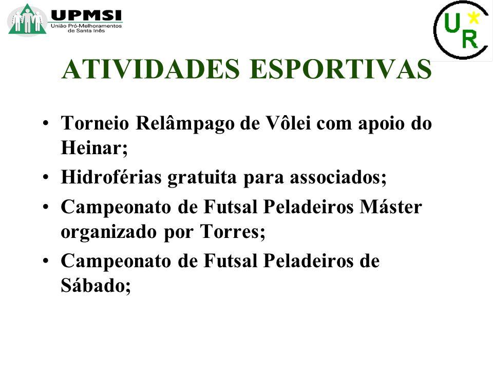 Torneio Relâmpago de Vôlei com apoio do Heinar; Hidroférias gratuita para associados; Campeonato de Futsal Peladeiros Máster organizado por Torres; Campeonato de Futsal Peladeiros de Sábado; ATIVIDADES ESPORTIVAS