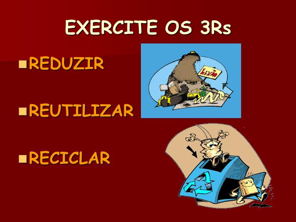 EXERCITE OS 3Rs REDUZIR REDUZIR REUTILIZAR REUTILIZAR RECICLAR RECICLAR