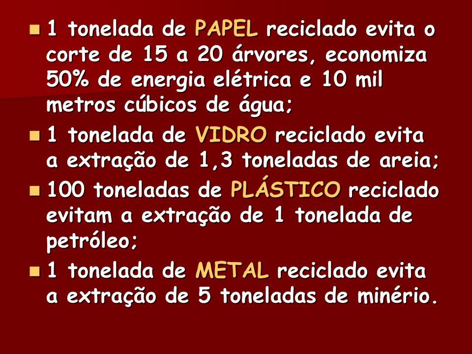 1 tonelada de PAPEL reciclado evita o corte de 15 a 20 árvores, economiza 50% de energia elétrica e 10 mil metros cúbicos de água; 1 tonelada de PAPEL