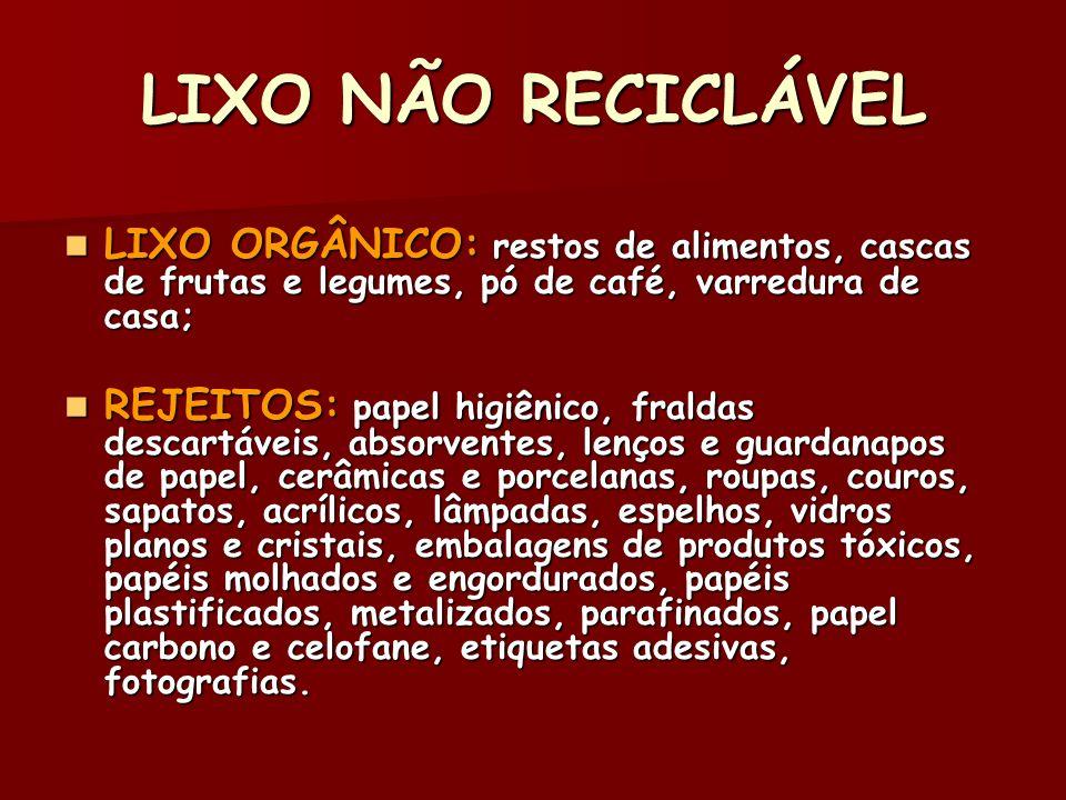 LIXO NÃO RECICLÁVEL LIXO ORGÂNICO: restos de alimentos, cascas de frutas e legumes, pó de café, varredura de casa; LIXO ORGÂNICO: restos de alimentos,