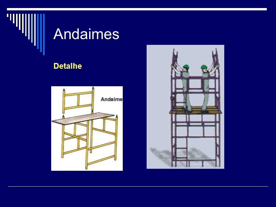 Andaimes - Balancin Segurança É obrigatório o uso de cinto de segurança tipo pára- quedista, ligado a trava-quedas de segurança.