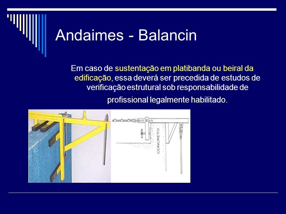 Andaimes - Balancin Em caso de sustentação em platibanda ou beiral da edificação, essa deverá ser precedida de estudos de verificação estrutural sob r