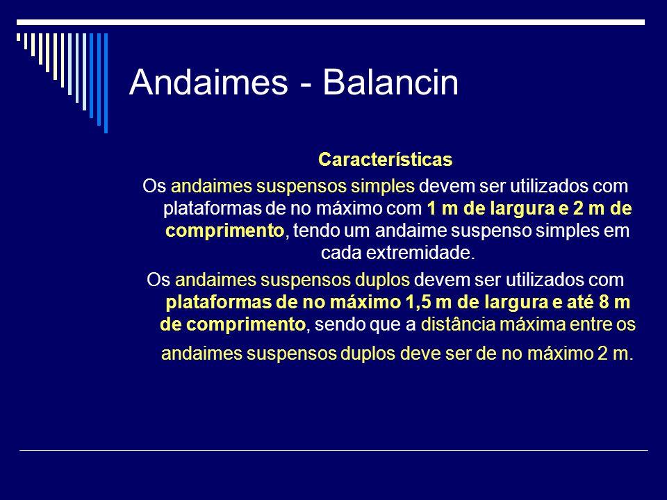 Andaimes - Balancin Características Os andaimes suspensos simples devem ser utilizados com plataformas de no máximo com 1 m de largura e 2 m de compri
