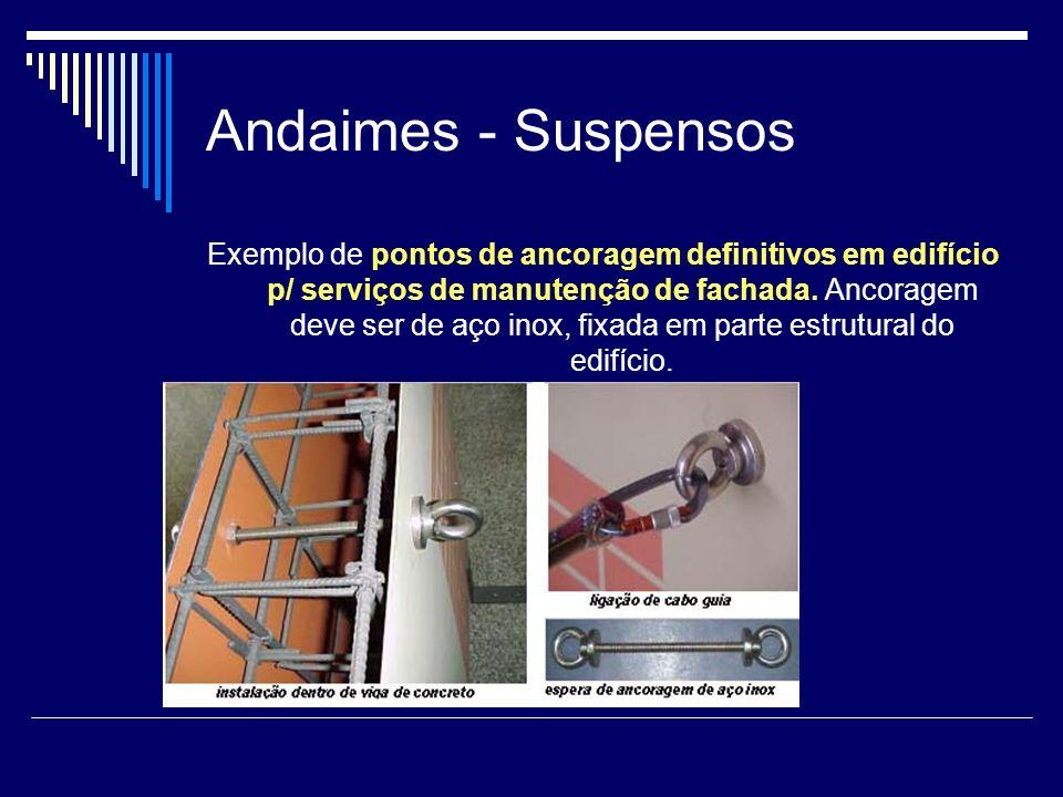 Andaimes - Suspensos Exemplo de pontos de ancoragem definitivos em edifício p/ serviços de manutenção de fachada. Ancoragem deve ser de aço inox, fixa