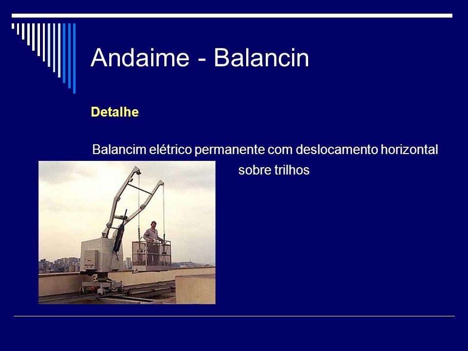 Andaime - Balancin Detalhe Balancim elétrico permanente com deslocamento horizontal sobre trilhos
