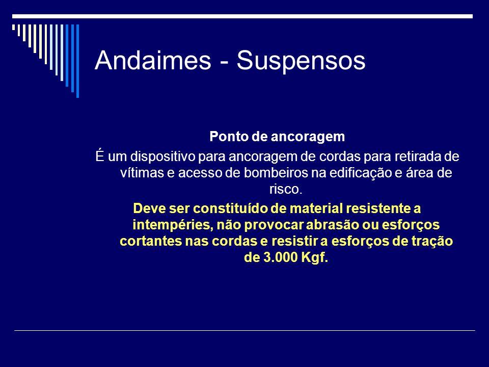 Andaimes - Suspensos Ponto de ancoragem É um dispositivo para ancoragem de cordas para retirada de vítimas e acesso de bombeiros na edificação e área