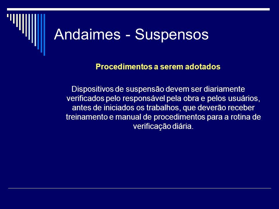 Andaimes - Suspensos Procedimentos a serem adotados Dispositivos de suspensão devem ser diariamente verificados pelo responsável pela obra e pelos usu