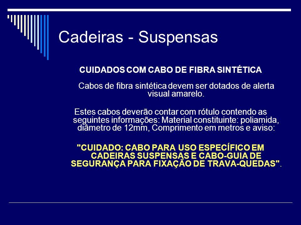Cadeiras - Suspensas CUIDADOS COM CABO DE FIBRA SINTÉTICA Cabos de fibra sintética devem ser dotados de alerta visual amarelo. Estes cabos deverão con