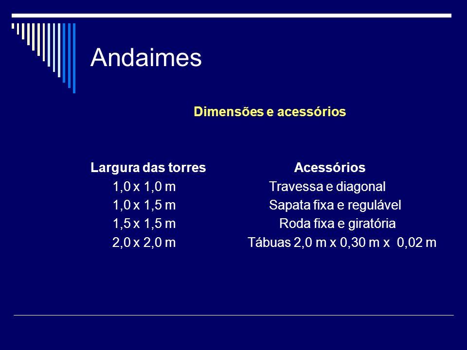 Andaimes Dimensões e acessórios Largura das torres Acessórios 1,0 x 1,0 m Travessa e diagonal 1,0 x 1,5 m Sapata fixa e regulável 1,5 x 1,5 m Roda fix