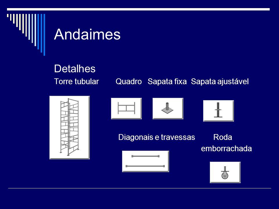Andaimes Andaimes Fachadeiros: Indicado para obras de médio e grande porte pois possibilita maior frente de trabalho executando ao mesmo tempo serviços ao longo de uma fachada.
