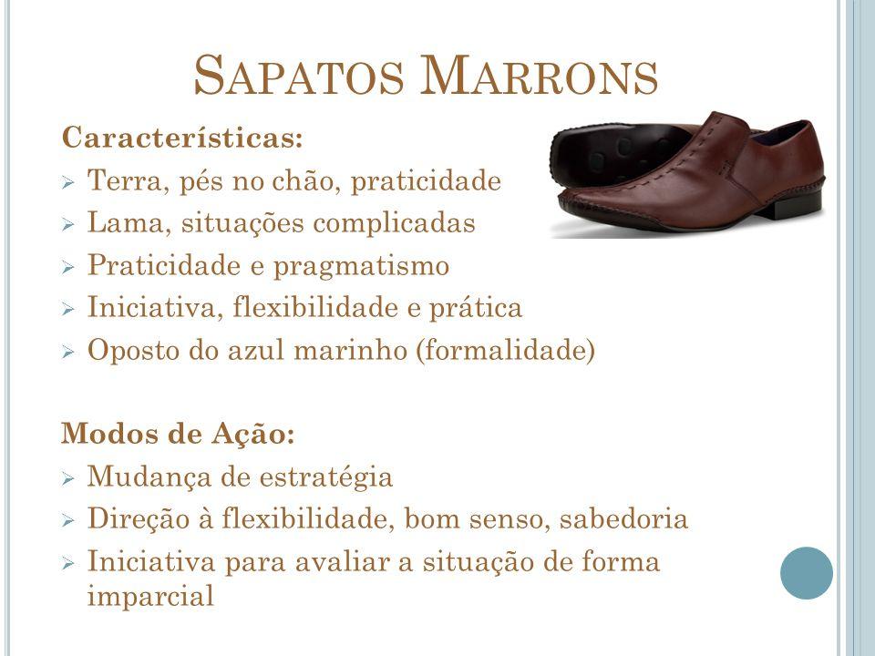 S APATOS M ARRONS Características: Terra, pés no chão, praticidade Lama, situações complicadas Praticidade e pragmatismo Iniciativa, flexibilidade e p