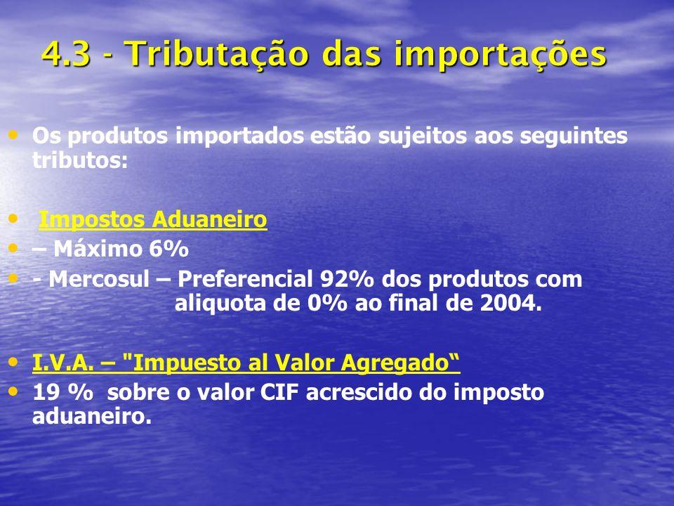 4.3 - Tributação das importações Os produtos importados estão sujeitos aos seguintes tributos: Impostos Aduaneiro – Máximo 6% - Mercosul – Preferencial 92% dos produtos com aliquota de 0% ao final de 2004.