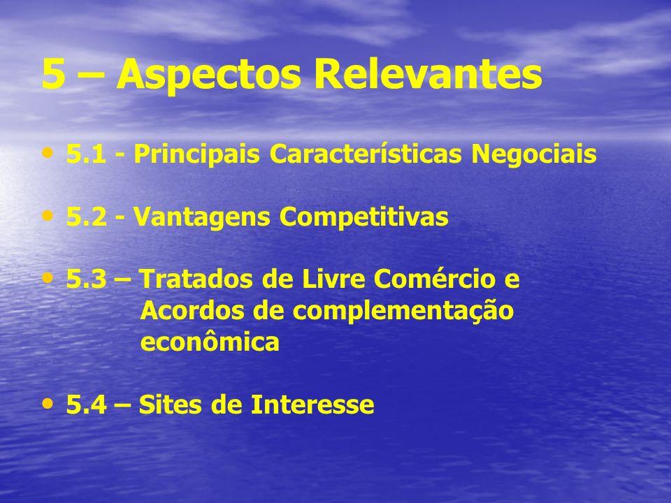 5 – Aspectos Relevantes 5.1 - Principais Características Negociais 5.2 - Vantagens Competitivas 5.3 – Tratados de Livre Comércio e Acordos de complementação econômica 5.4 – Sites de Interesse
