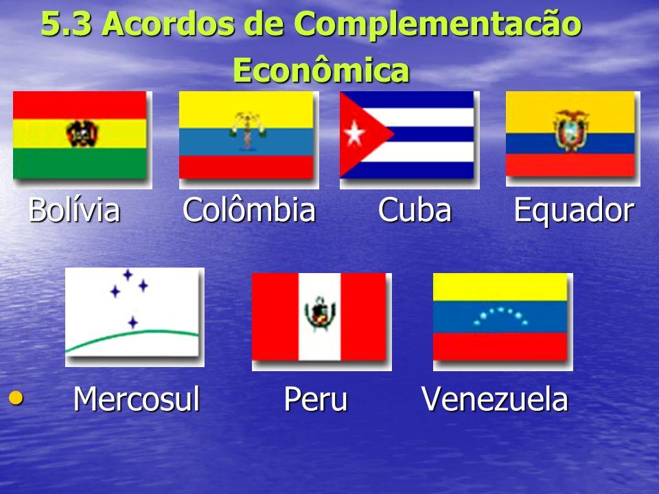 5.3 Acordos de Complementacão Econômica Bolívia Colômbia Cuba Equador Bolívia Colômbia Cuba Equador Mercosul Peru Venezuela Mercosul Peru Venezuela
