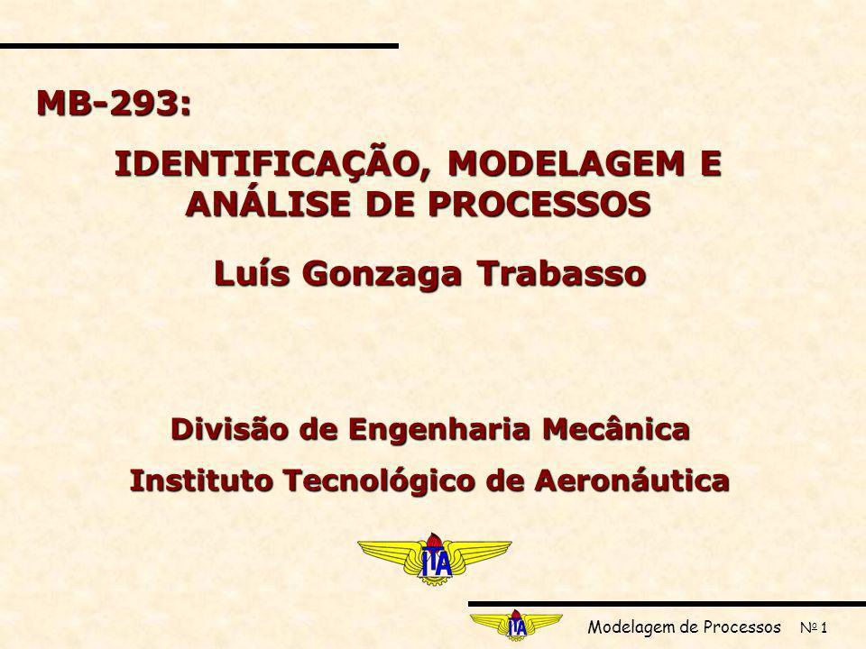 Modelagem de Processos N o 1 MB-293: IDENTIFICAÇÃO, MODELAGEM E ANÁLISE DE PROCESSOS Luís Gonzaga Trabasso Divisão de Engenharia Mecânica Instituto Tecnológico de Aeronáutica