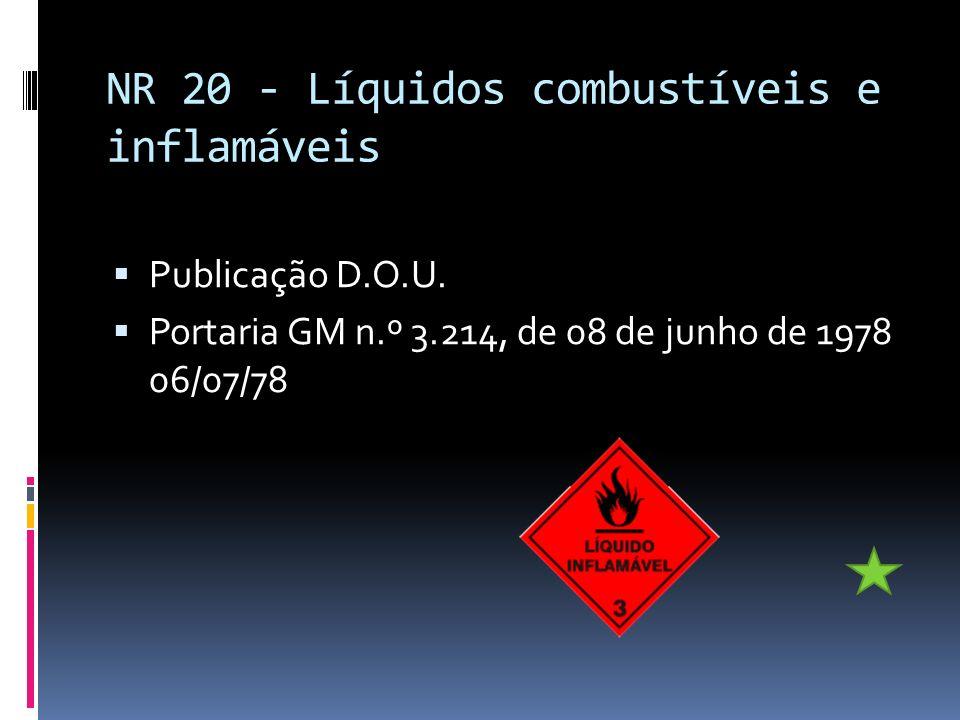 NR 20 - Líquidos combustíveis e inflamáveis Publicação D.O.U. Portaria GM n.º 3.214, de 08 de junho de 1978 06/07/78
