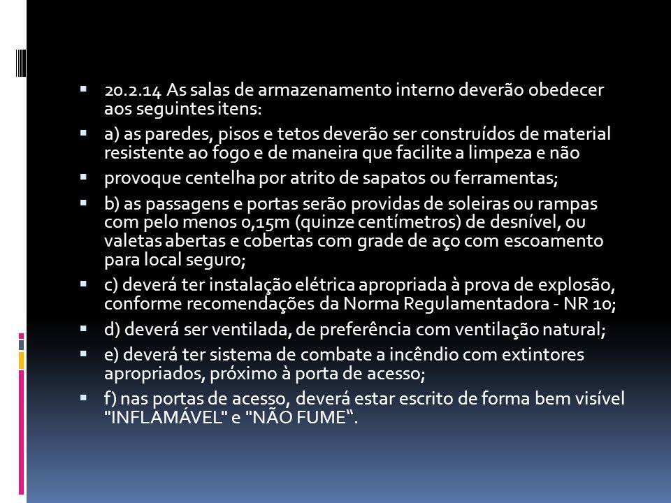20.2.14 As salas de armazenamento interno deverão obedecer aos seguintes itens: a) as paredes, pisos e tetos deverão ser construídos de material resis