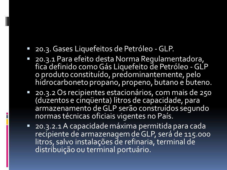 20.3. Gases Liquefeitos de Petróleo - GLP. 20.3.1 Para efeito desta Norma Regulamentadora, fica definido como Gás Liquefeito de Petróleo - GLP o produ