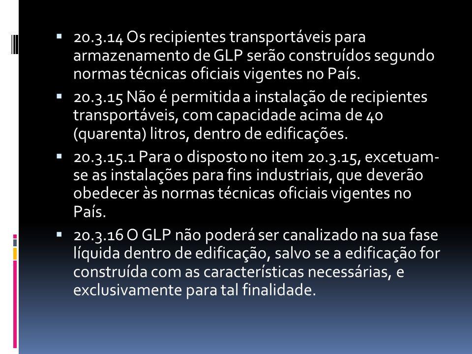 20.3.14 Os recipientes transportáveis para armazenamento de GLP serão construídos segundo normas técnicas oficiais vigentes no País. 20.3.15 Não é per