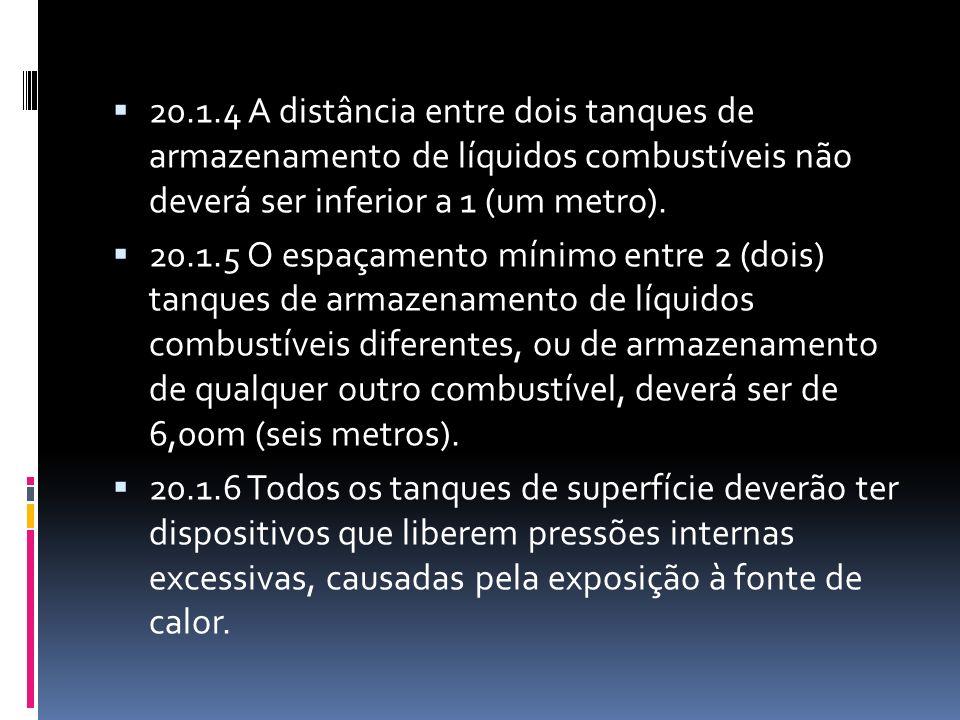 20.1.4 A distância entre dois tanques de armazenamento de líquidos combustíveis não deverá ser inferior a 1 (um metro). 20.1.5 O espaçamento mínimo en