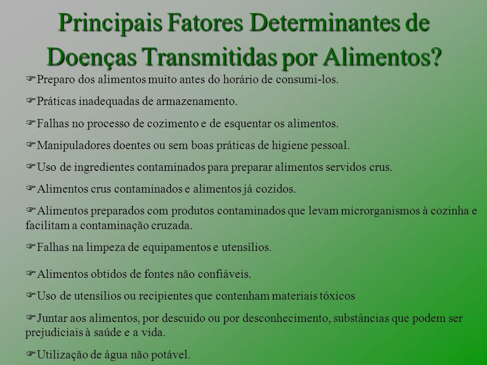 Principais Fatores Determinantes de Doenças Transmitidas por Alimentos? Preparo dos alimentos muito antes do horário de consumi-los. Práticas inadequa