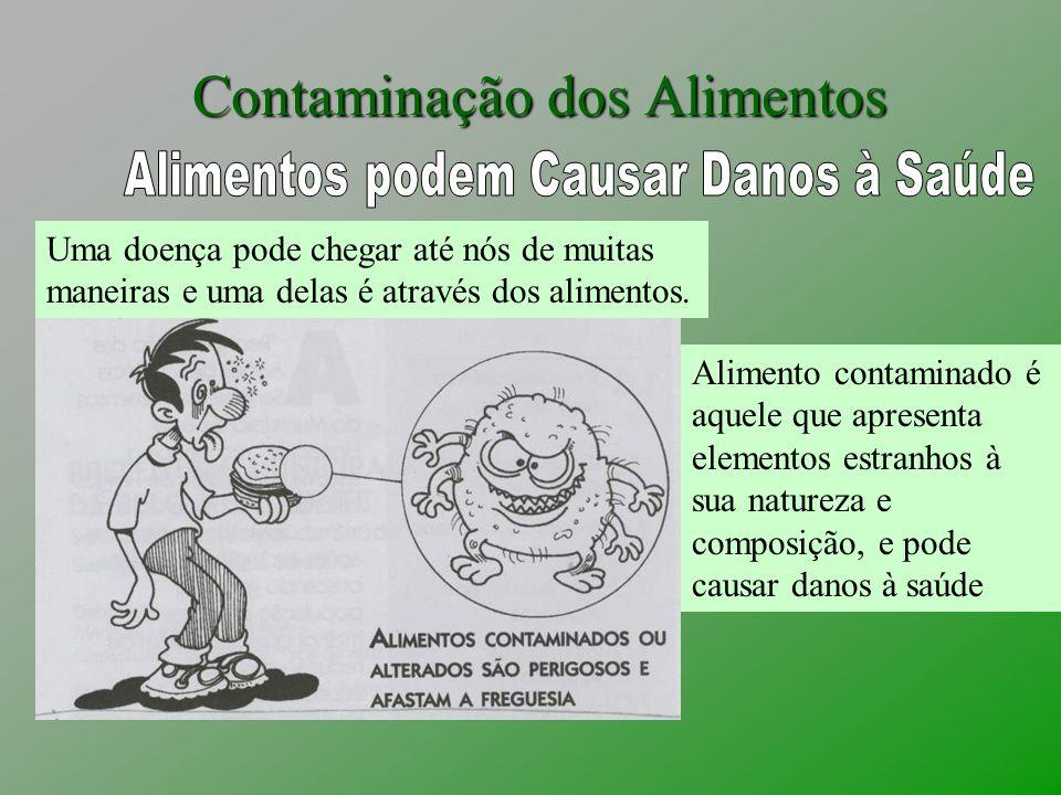 Contaminação dos Alimentos Uma doença pode chegar até nós de muitas maneiras e uma delas é através dos alimentos. Alimento contaminado é aquele que ap