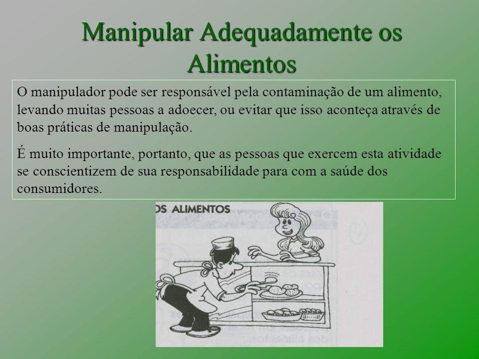 Manipular Adequadamente os Alimentos O manipulador pode ser responsável pela contaminação de um alimento, levando muitas pessoas a adoecer, ou evitar