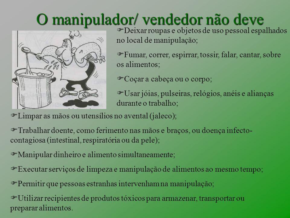 O manipulador/ vendedor não deve Limpar as mãos ou utensílios no avental (jaleco); Trabalhar doente, como ferimento nas mãos e braços, ou doença infec