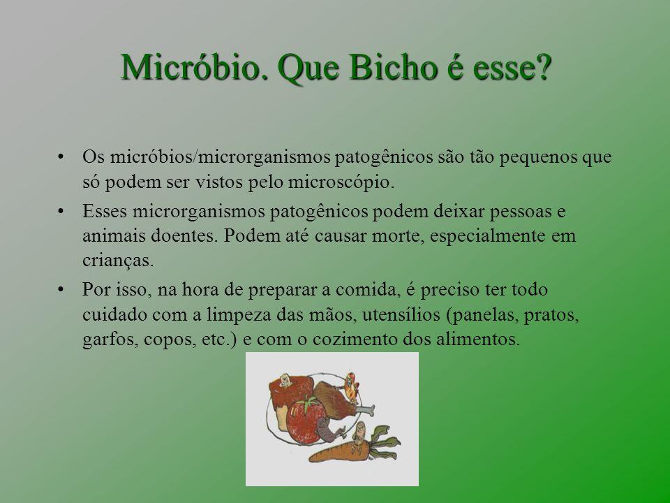 Micróbio. Que Bicho é esse? Os micróbios/microrganismos patogênicos são tão pequenos que só podem ser vistos pelo microscópio. Esses microrganismos pa