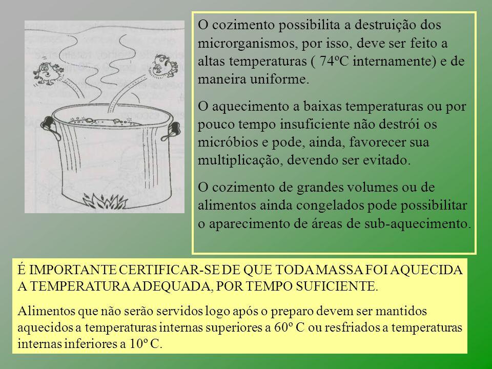 O cozimento possibilita a destruição dos microrganismos, por isso, deve ser feito a altas temperaturas ( 74ºC internamente) e de maneira uniforme. O a