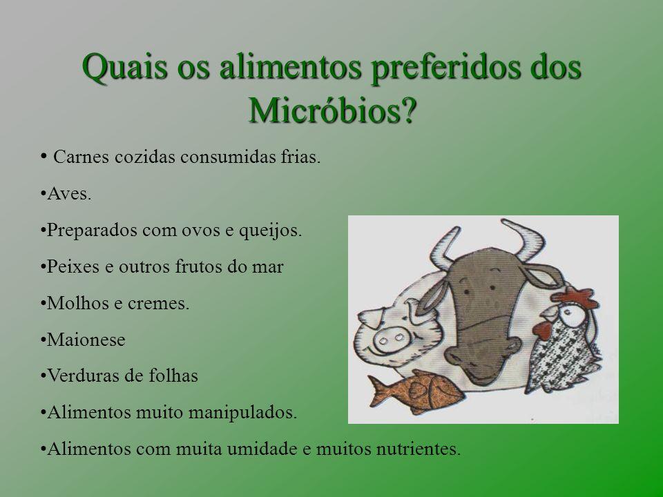 Quais os alimentos preferidos dos Micróbios? Carnes cozidas consumidas frias. Aves. Preparados com ovos e queijos. Peixes e outros frutos do mar Molho