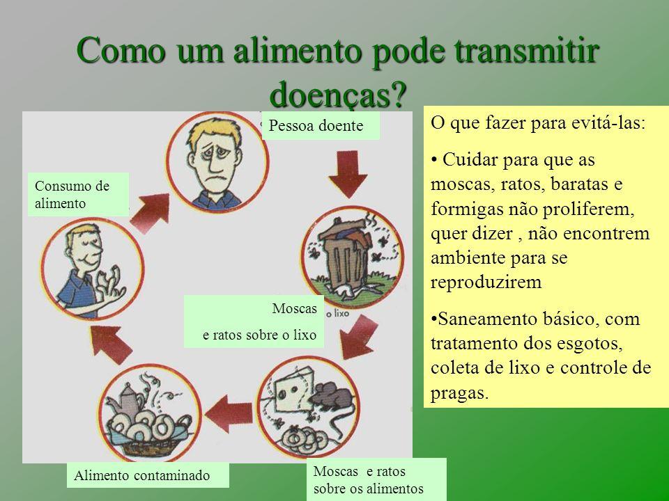 Como um alimento pode transmitir doenças? Pessoa doente Consumo de alimento Moscas e ratos sobre o lixo Moscas e ratos sobre os alimentos Alimento con