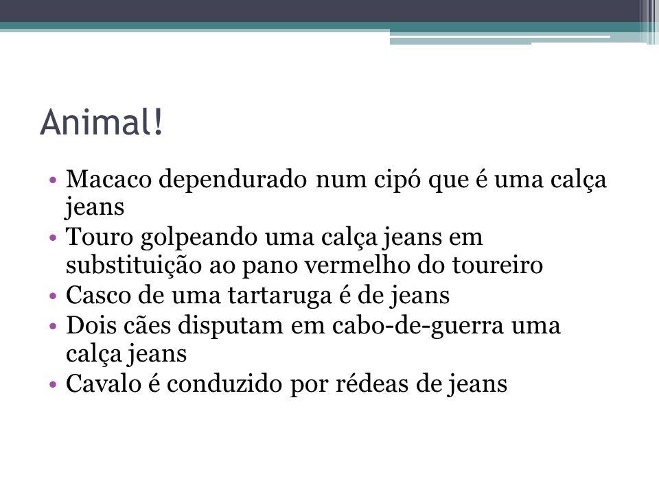 Animal! Macaco dependurado num cipó que é uma calça jeans Touro golpeando uma calça jeans em substituição ao pano vermelho do toureiro Casco de uma ta