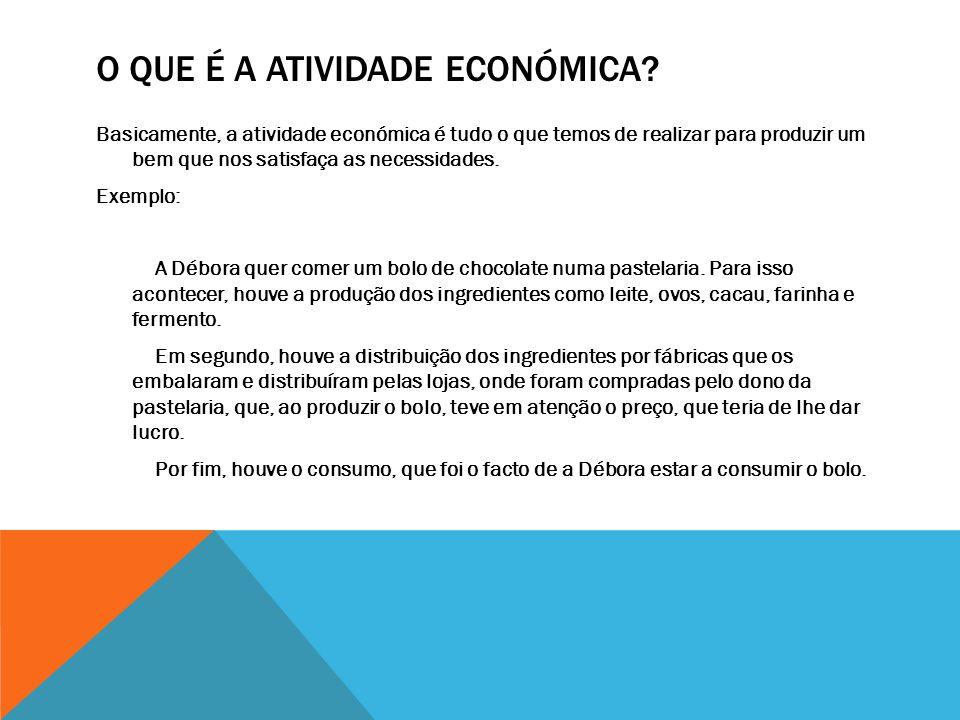 O QUE É A ATIVIDADE ECONÓMICA? Basicamente, a atividade económica é tudo o que temos de realizar para produzir um bem que nos satisfaça as necessidade
