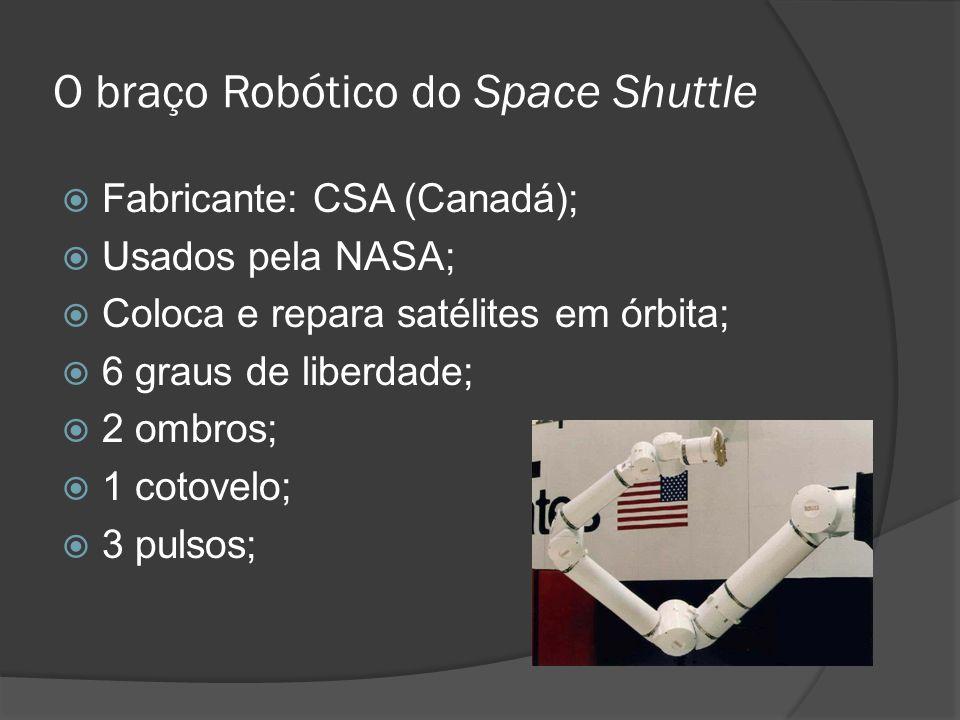 O braço Robótico do Space Shuttle Fabricante: CSA (Canadá); Usados pela NASA; Coloca e repara satélites em órbita; 6 graus de liberdade; 2 ombros; 1 c