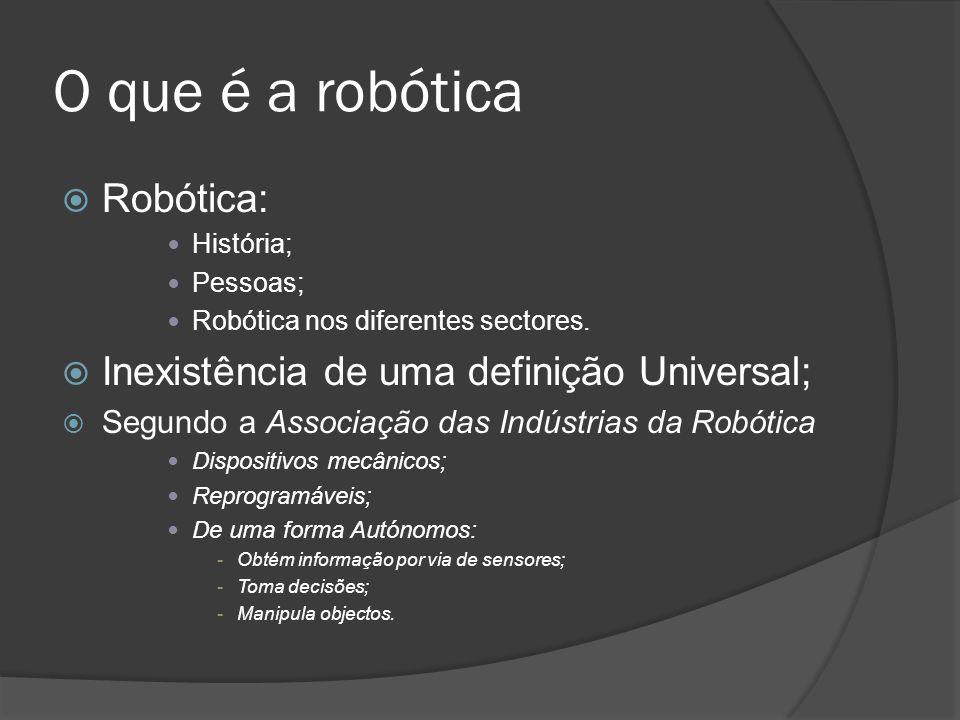 O que é a robótica Robótica: História; Pessoas; Robótica nos diferentes sectores. Inexistência de uma definição Universal; Segundo a Associação das In