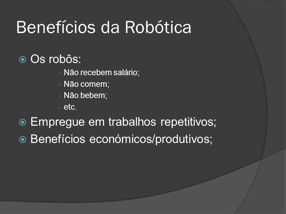 Benefícios da Robótica Os robôs: -Não recebem salário; -Não comem; -Não bebem; -etc. Empregue em trabalhos repetitivos; Benefícios económicos/produtiv