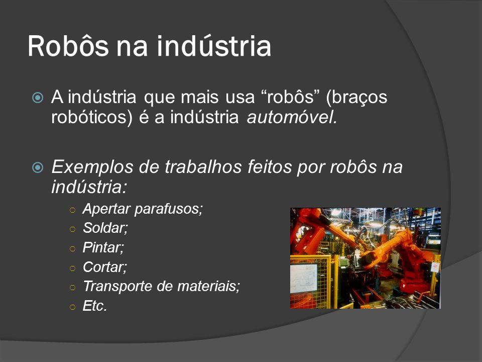 Robôs na indústria A indústria que mais usa robôs (braços robóticos) é a indústria automóvel. Exemplos de trabalhos feitos por robôs na indústria: Ape