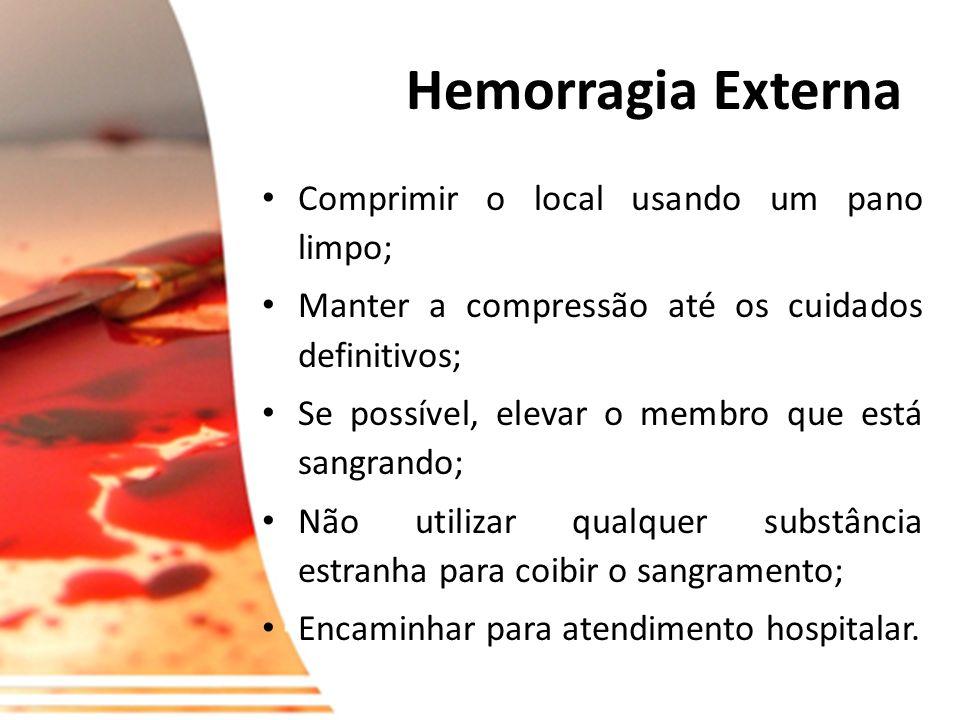 Hemorragias e Ferimentos A maioria das hemorragias envolvem mais do que um tipo de vaso sanguíneo. O sangue que sai das artérias é vermelho vivo e esg