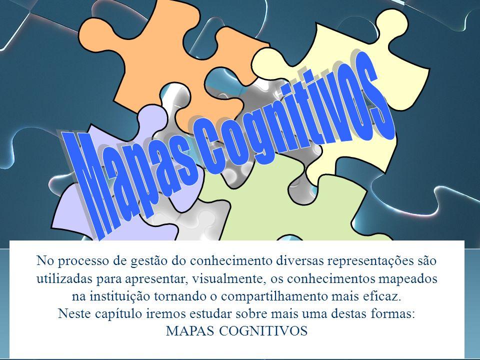 No processo de gestão do conhecimento diversas representações são utilizadas para apresentar, visualmente, os conhecimentos mapeados na instituição tornando o compartilhamento mais eficaz.