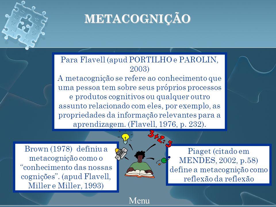 Piaget (citado em MENDES, 2002, p.58) define a metacognição como reflexão da reflexão METACOGNIÇÃO Para Flavell (apud PORTILHO e PAROLIN, 2003) A metacognição se refere ao conhecimento que uma pessoa tem sobre seus próprios processos e produtos cognitivos ou qualquer outro assunto relacionado com eles, por exemplo, as propriedades da informação relevantes para a aprendizagem.