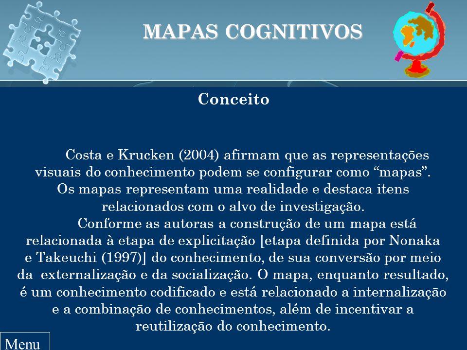 MAPAS COGNITIVOS Conceito Costa e Krucken (2004) afirmam que as representações visuais do conhecimento podem se configurar como mapas.