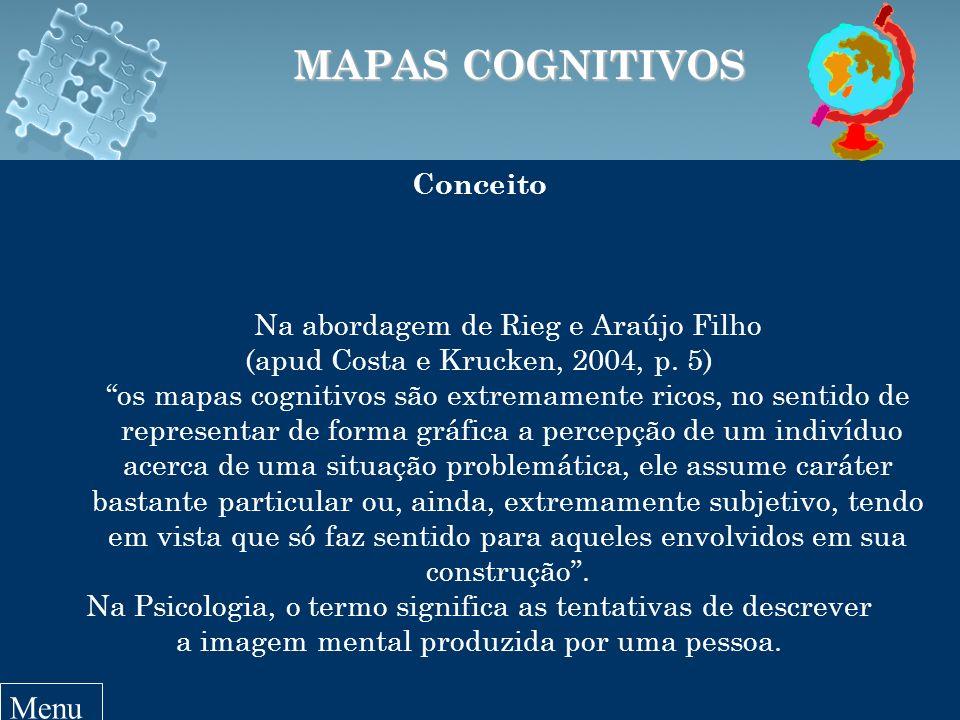 Conceito Na abordagem de Rieg e Araújo Filho (apud Costa e Krucken, 2004, p. 5) os mapas cognitivos são extremamente ricos, no sentido de representar