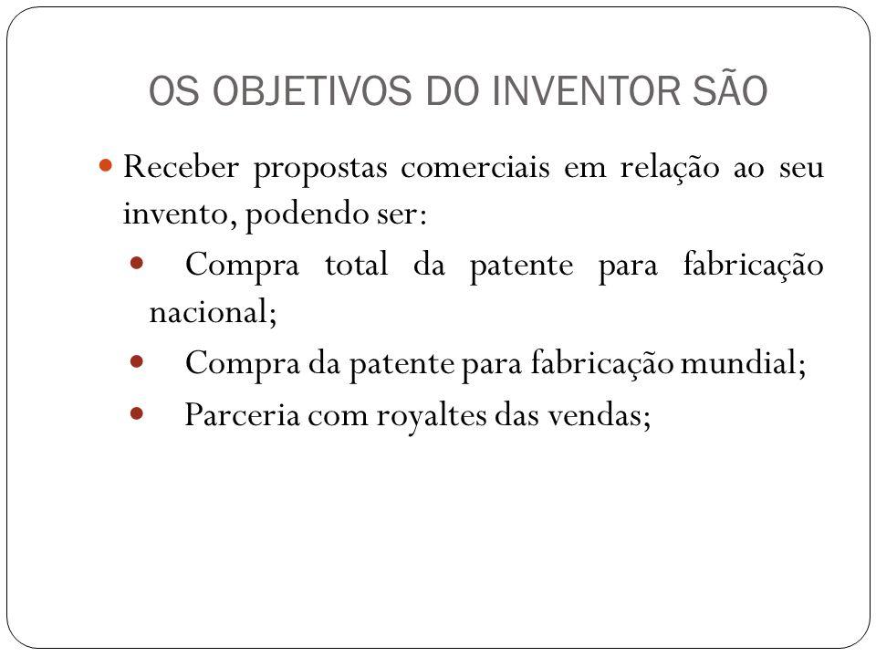 OS OBJETIVOS DO INVENTOR SÃO Receber propostas comerciais em relação ao seu invento, podendo ser: Compra total da patente para fabricação nacional; Co