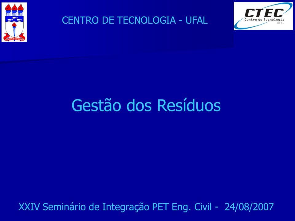 CENTRO DE TECNOLOGIA - UFAL XXIV Seminário de Integração PET Eng. Civil - 24/08/2007 Gestão dos Resíduos