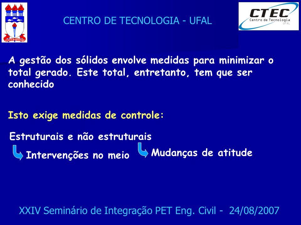 CENTRO DE TECNOLOGIA - UFAL XXIV Seminário de Integração PET Eng. Civil - 24/08/2007 A gestão dos sólidos envolve medidas para minimizar o total gerad